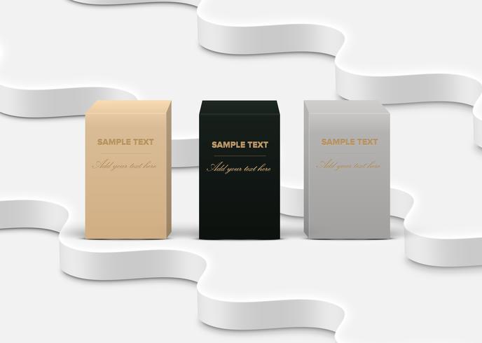 Caixas de produto altamente detalhada realista sobre fundo branco, ilustração vetorial vetor