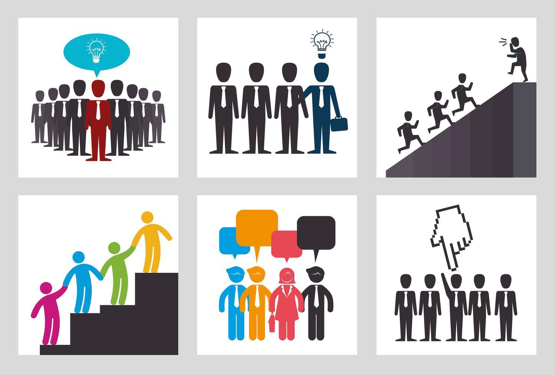 agrupar silhueta de trabalho em equipe e ícones vetor