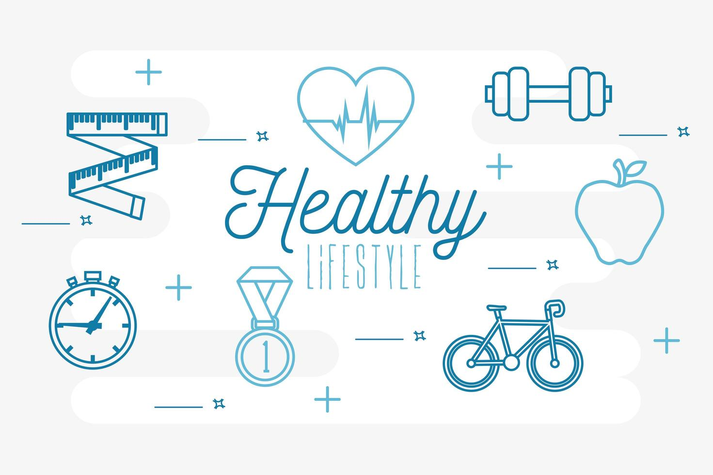 cartaz estilo de vida saudável com ícones definidos vetor