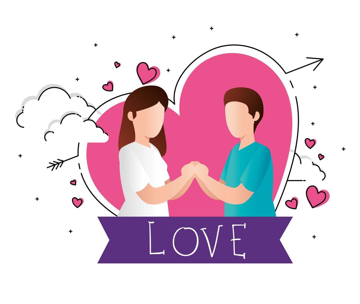 feliz dia dos namorados com casal e corações vetor