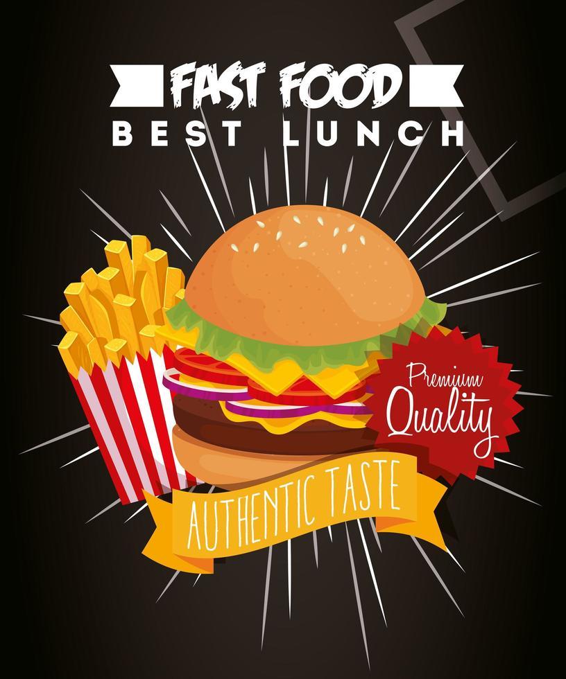 pôster de fast food com hambúrguer e qualidade premium vetor