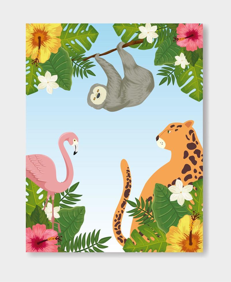 grupo de animais exóticos com flores e folhas vetor