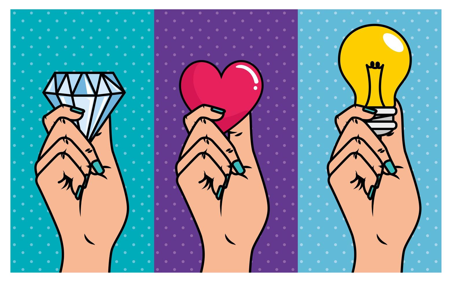 conjunto de mãos com ícones de estilo pop art vetor