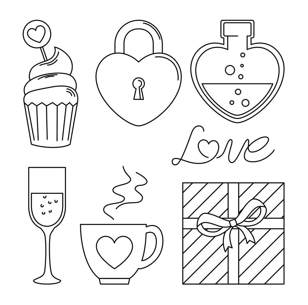 definir ícones do dia dos namorados com decoração vetor