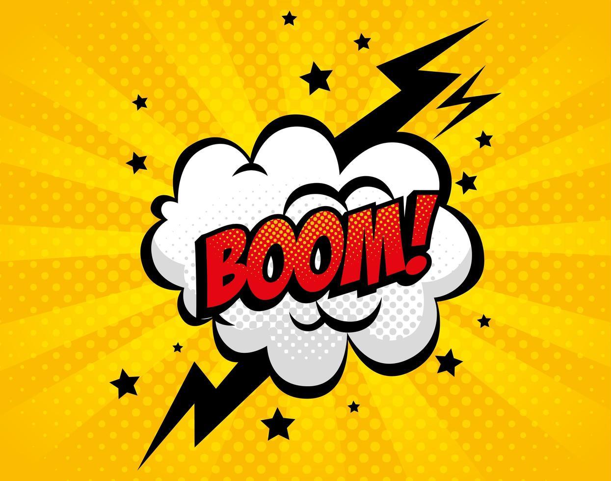 ícone de estilo pop art explosão boom vetor