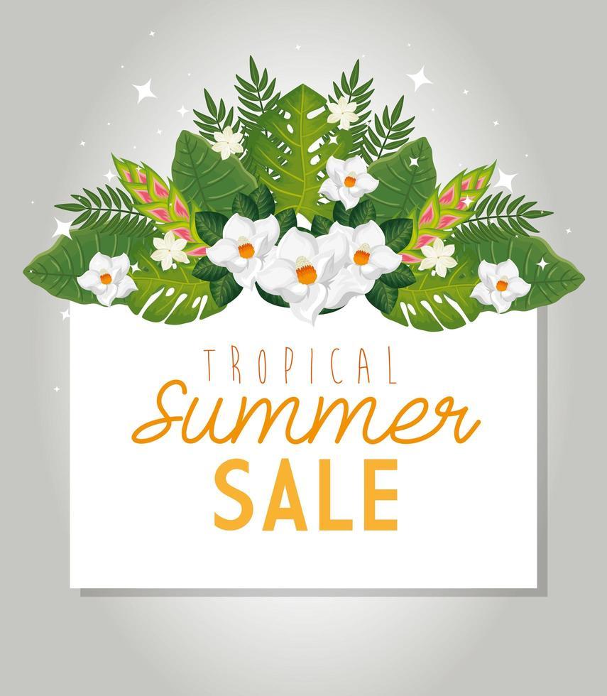 liquidação de verão tropical com moldura e flores vetor