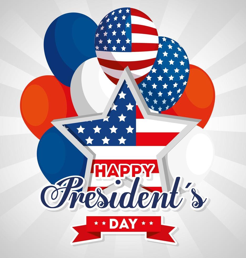 feliz dia dos presidentes com estrelas e balões de hélio da bandeira dos EUA vetor