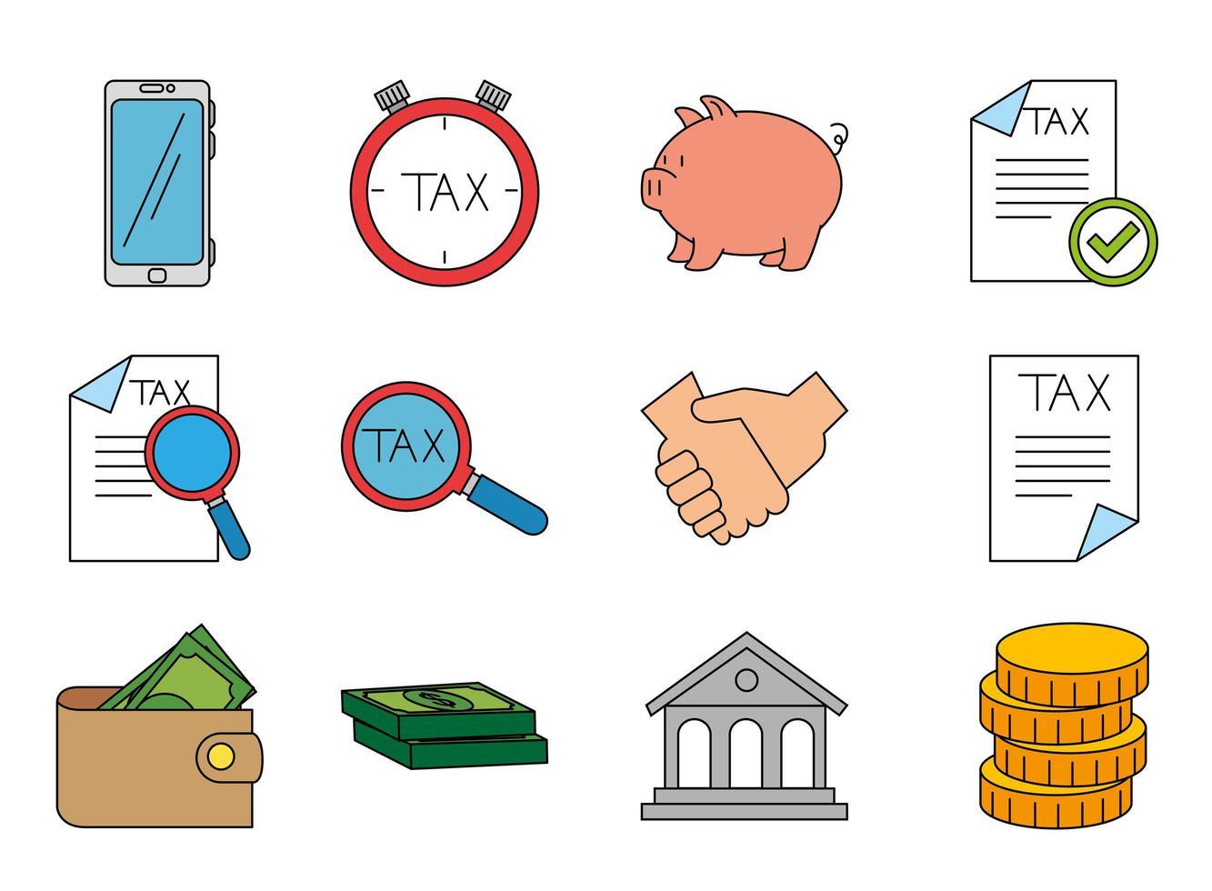 dinheiro isolado e ícone de imposto conjunto de design vetorial vetor