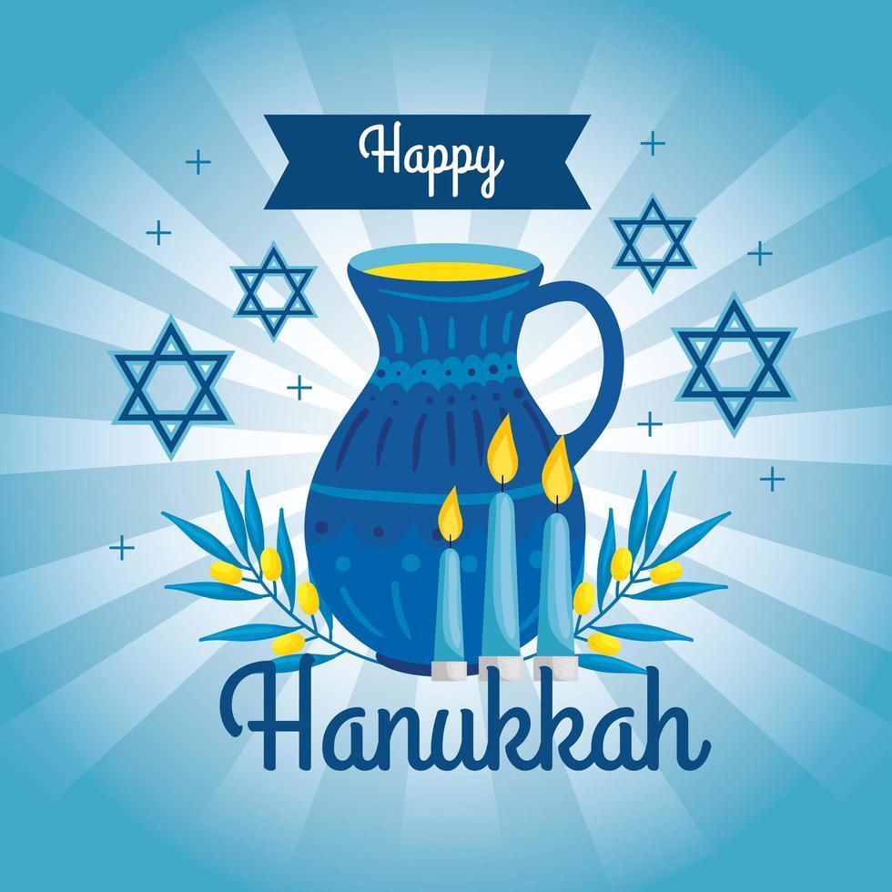 feliz hanukkah com bule e decoração vetor