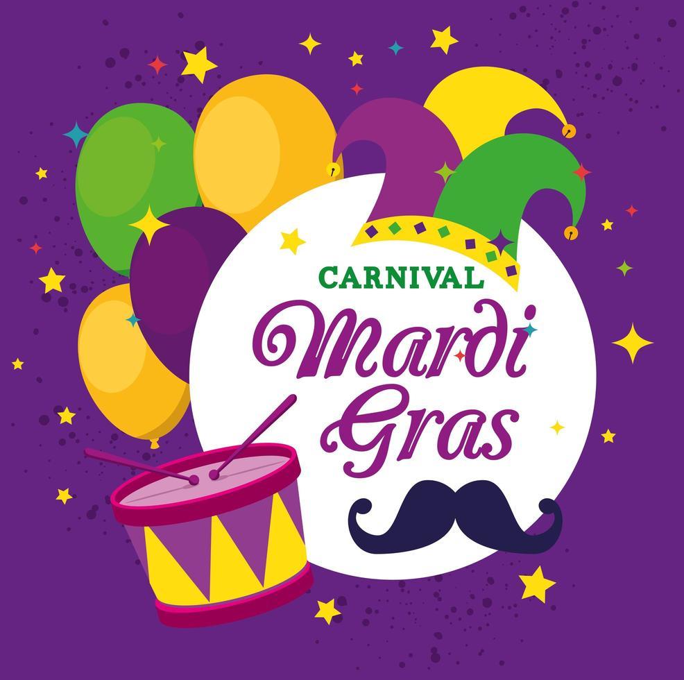 desenho de balões e tambor de chapéu mardi gras vetor