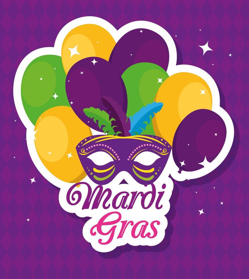 máscara de carnaval e desenho vetorial de balões vetor