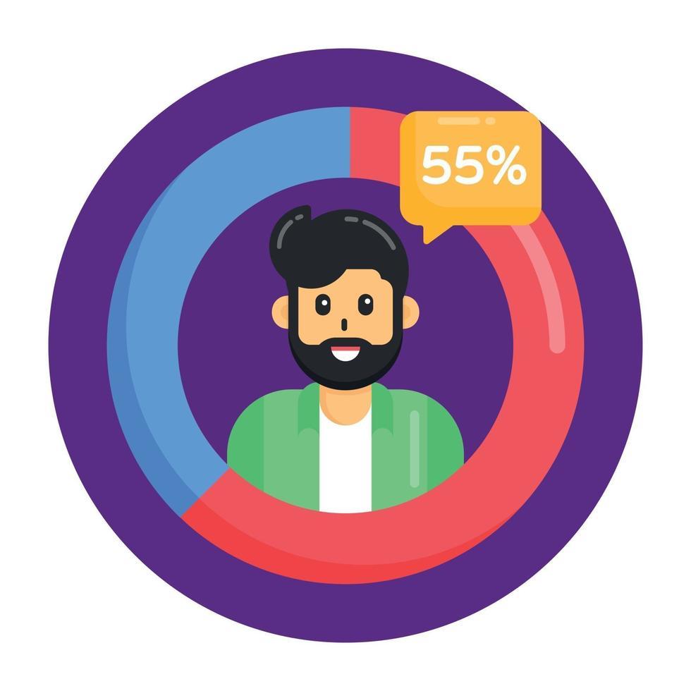 gráfico de pizza da população vetor