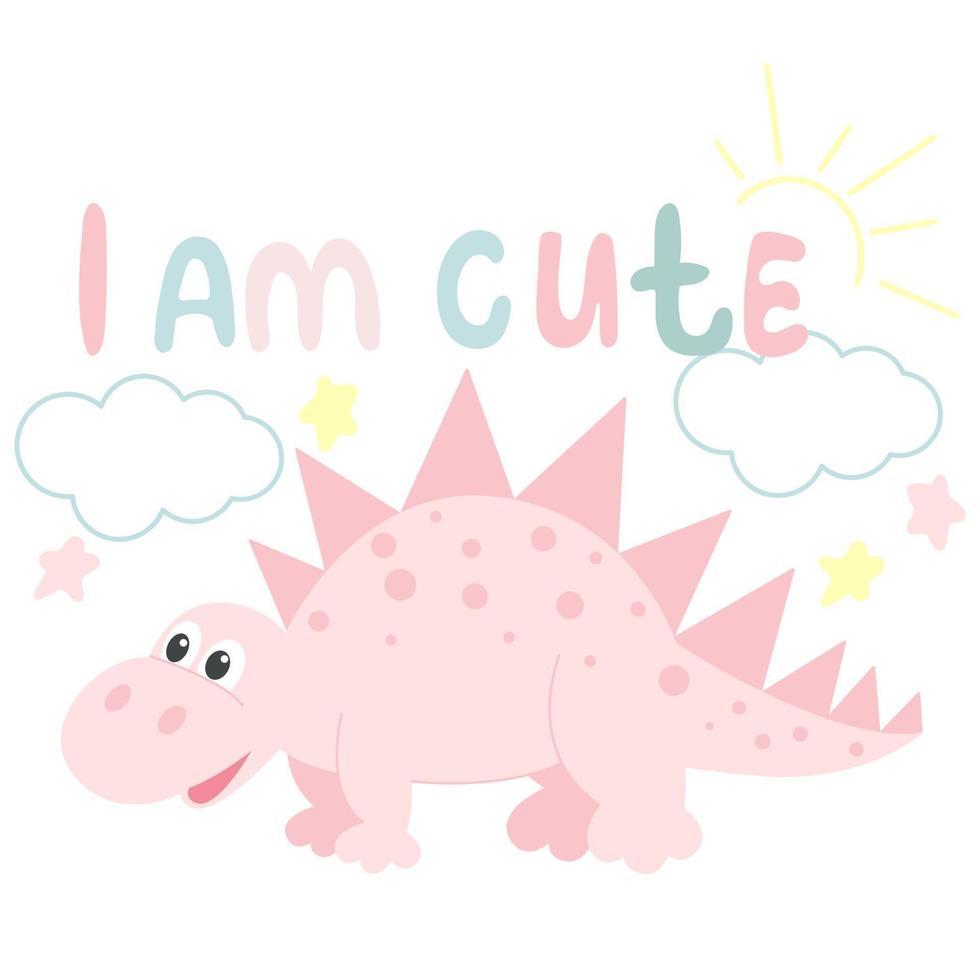 cartão de bebê com dinossauro e vetor de letras de mão
