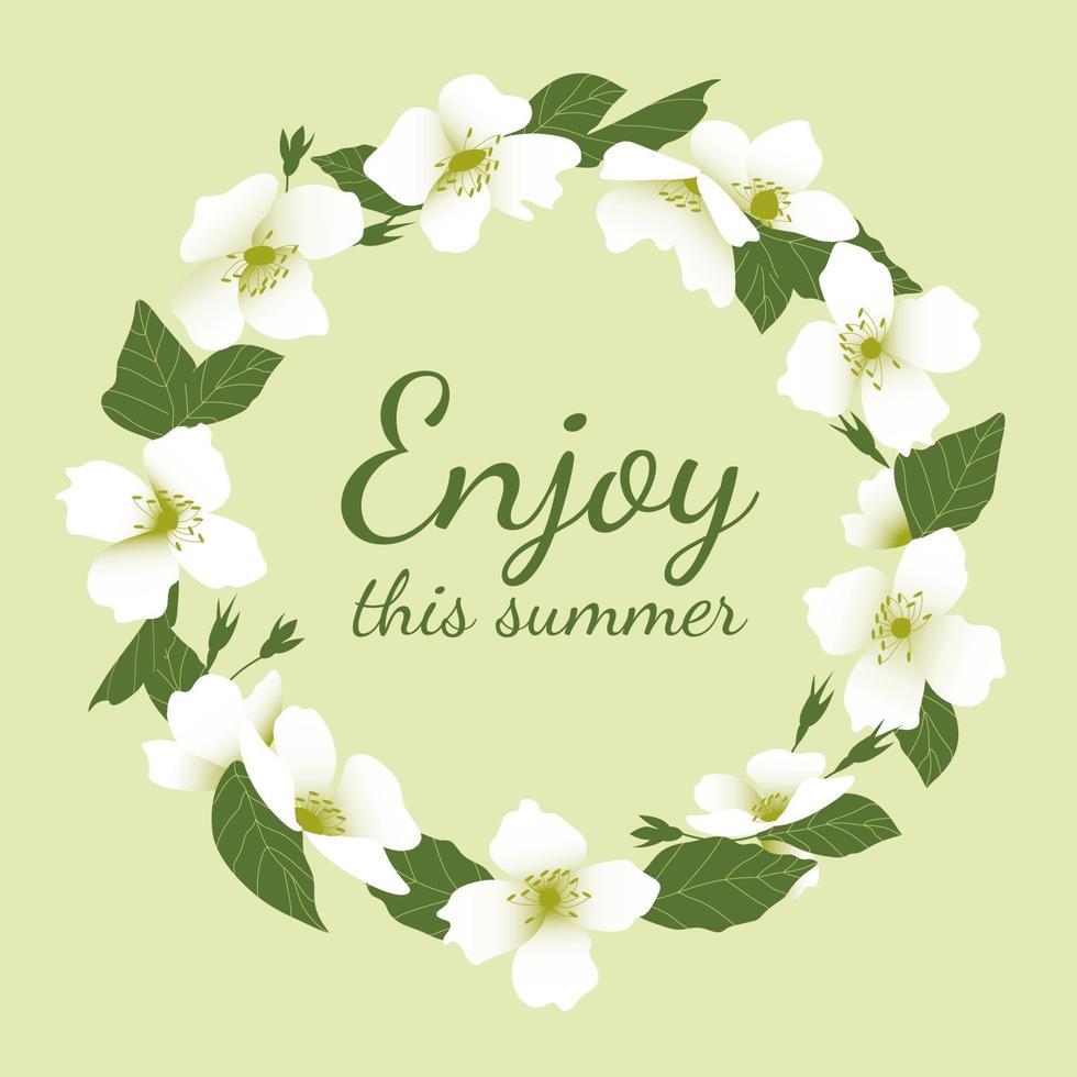 flor grinalda de flor de jasmim com aproveite este texto de verão vetor