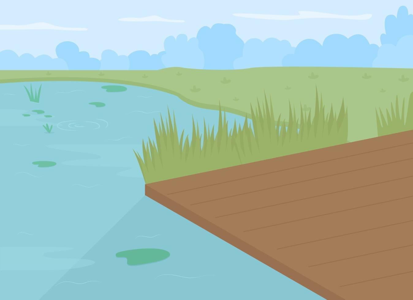 lagoa com ilustração vetorial de cor plana de doca vetor