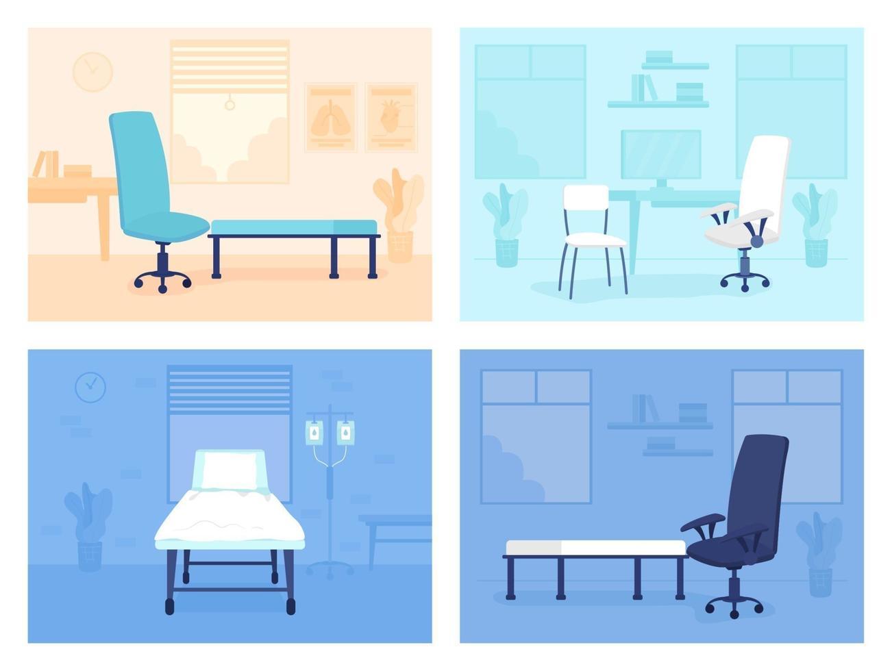 conjunto de ilustrações vetoriais de cores planas para consultório médico vetor
