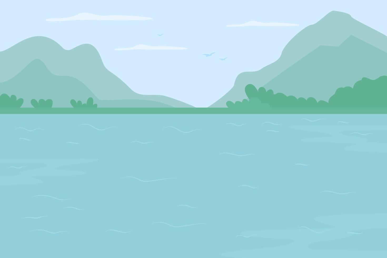 ilustração em vetor cor plana montanha rio