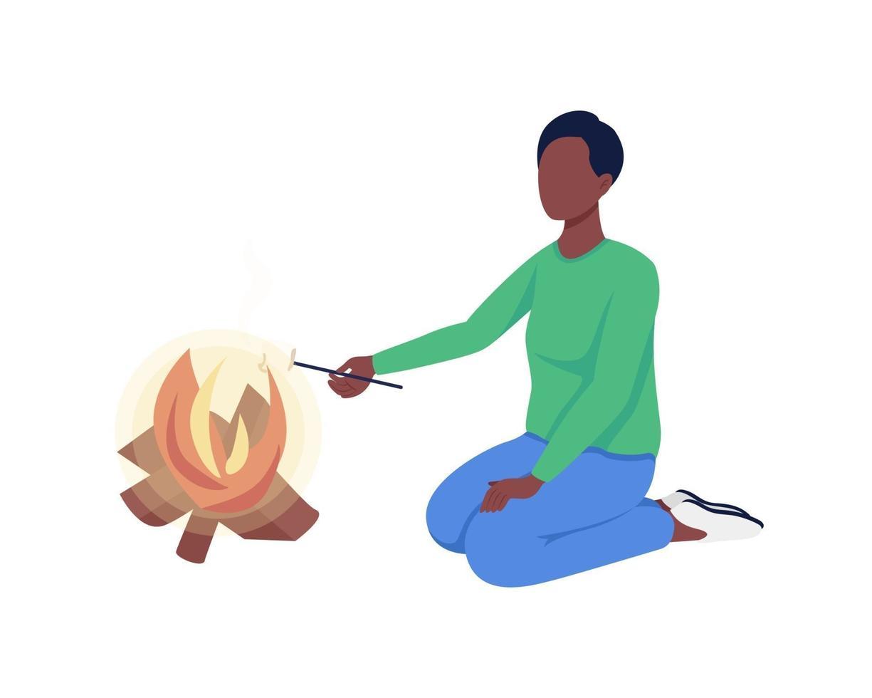 mulher assa marshmallows personagem de vetor de cor semi-plana