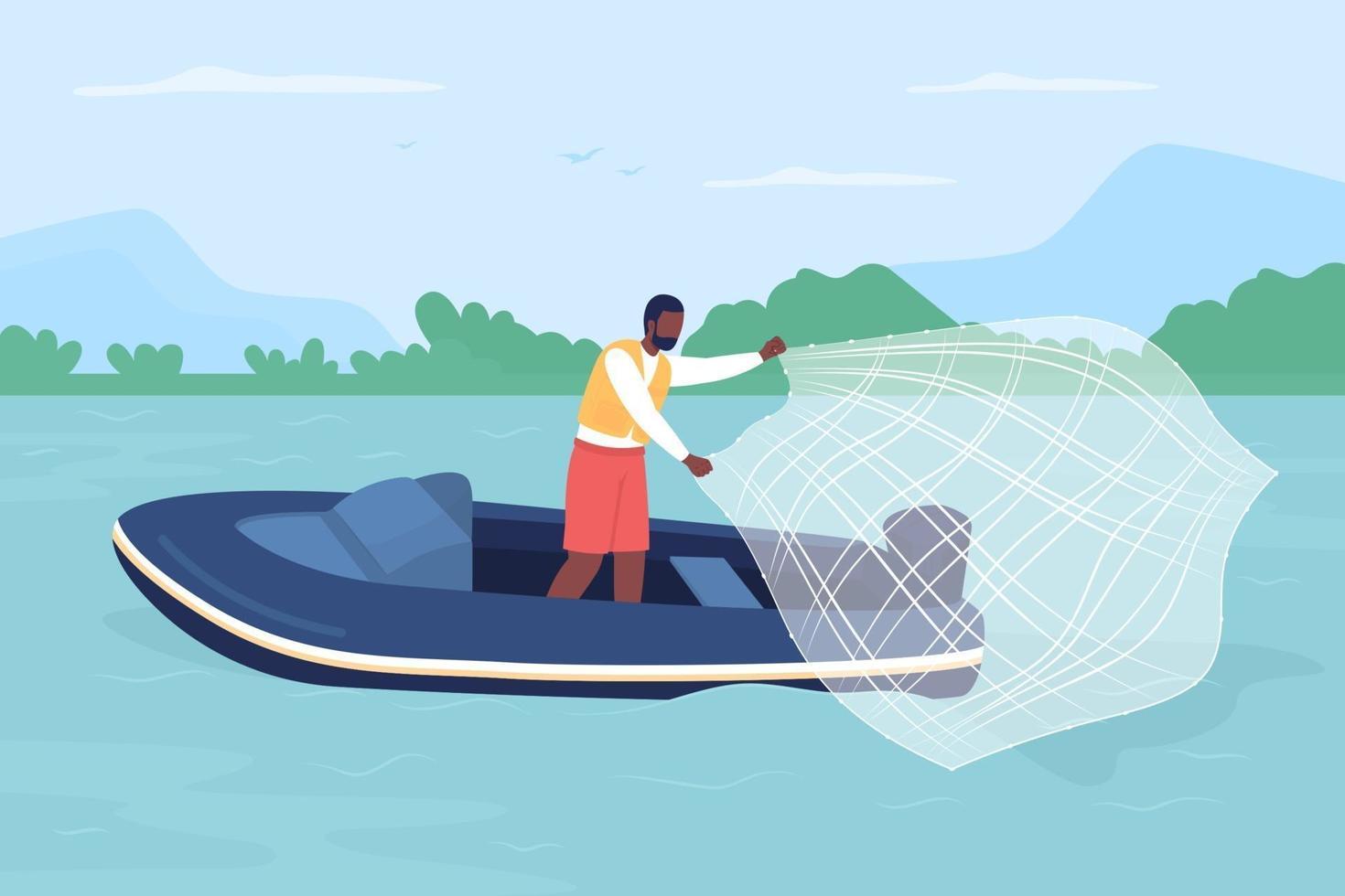 captura de peixes com lançamento de ilustração vetorial de cor lisa vetor