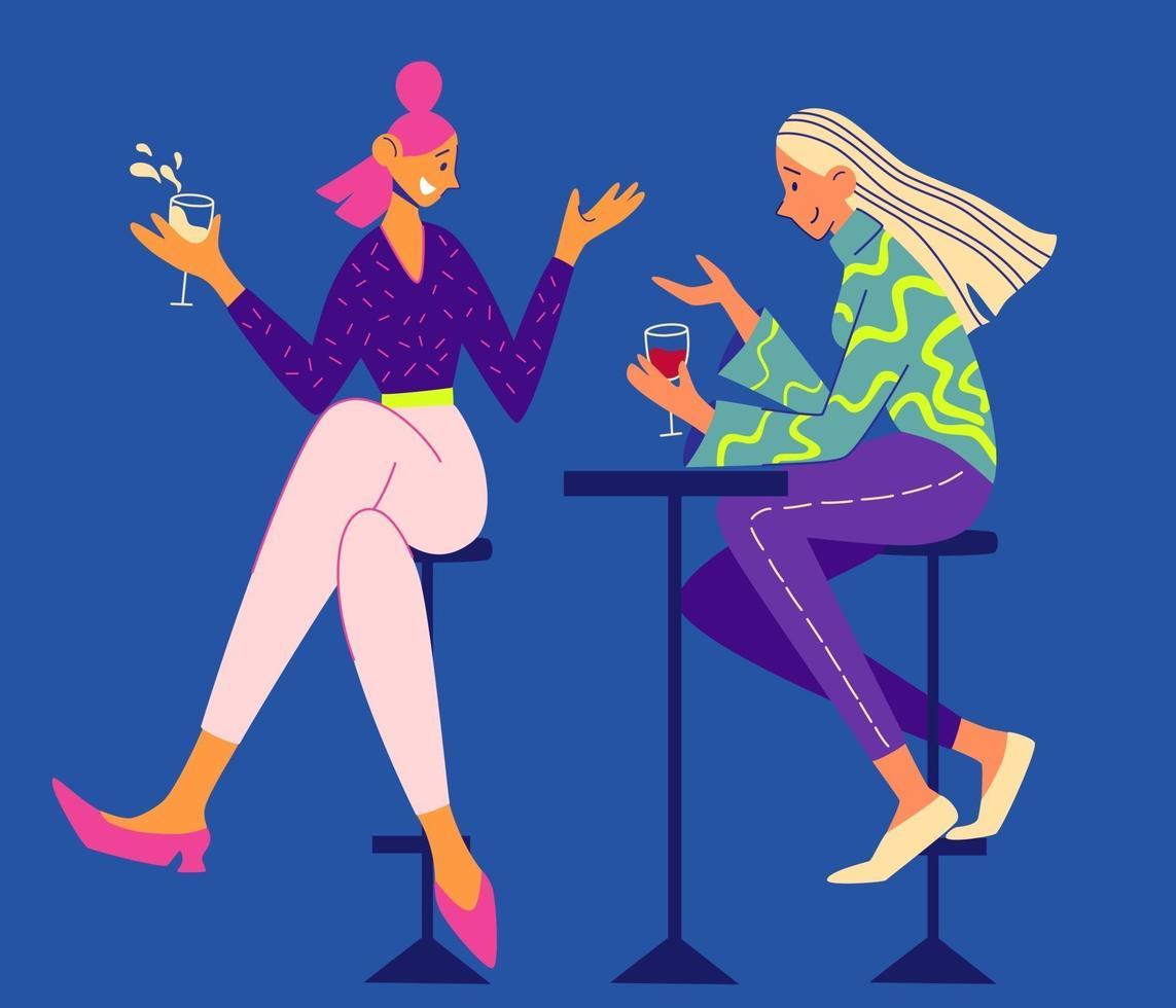 duas meninas conversando e bebendo em um café. amizade feminina. vetor