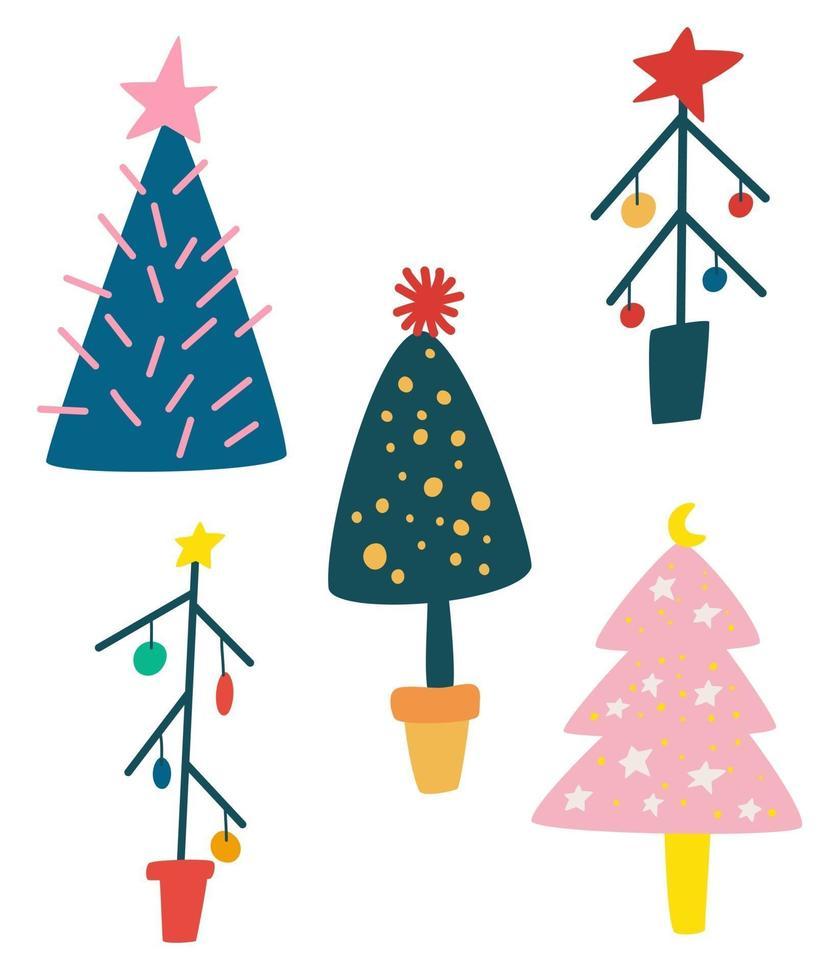 conjunto de árvores de Natal dos desenhos animados. floresta de inverno. vetor