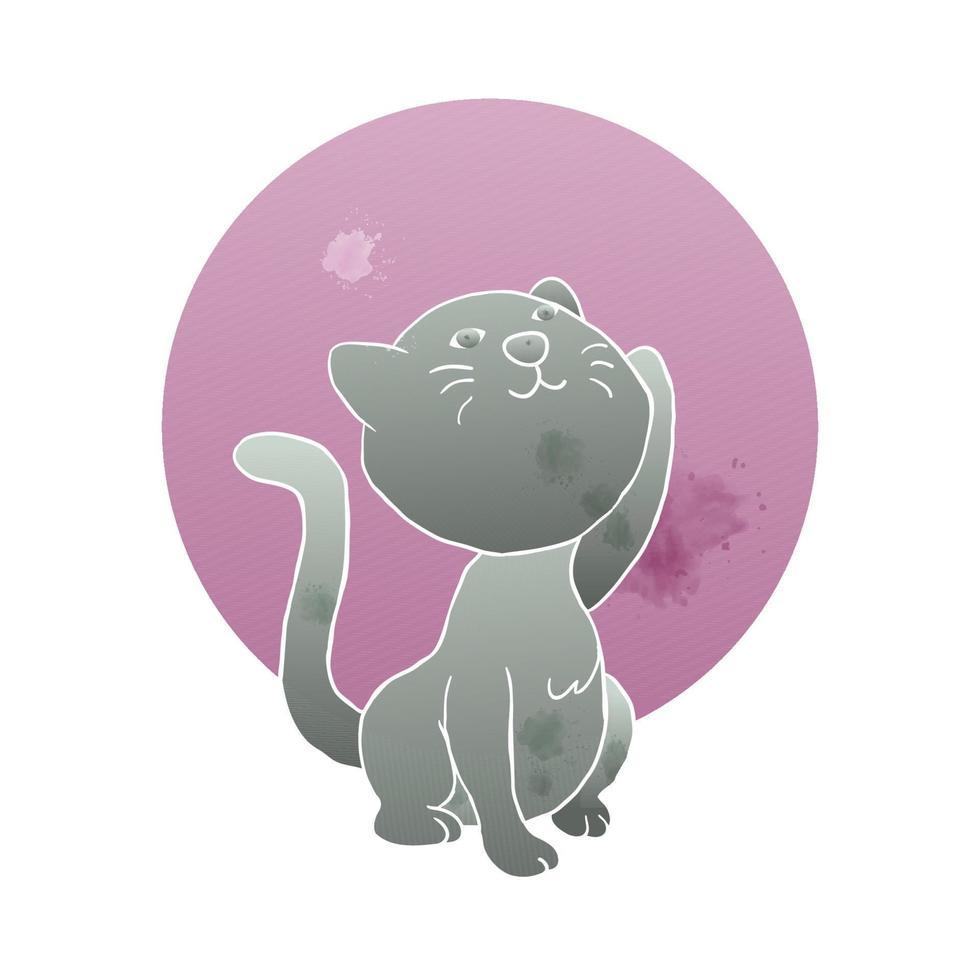 gato fofo gatinho nascer mão lua estilo artístico aquarela vetor