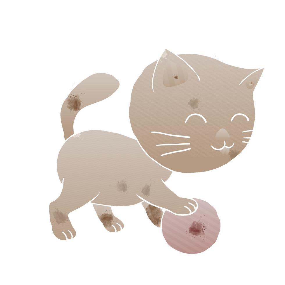 gatinho gatinho jogando bola no estilo artístico de aquarela vetor