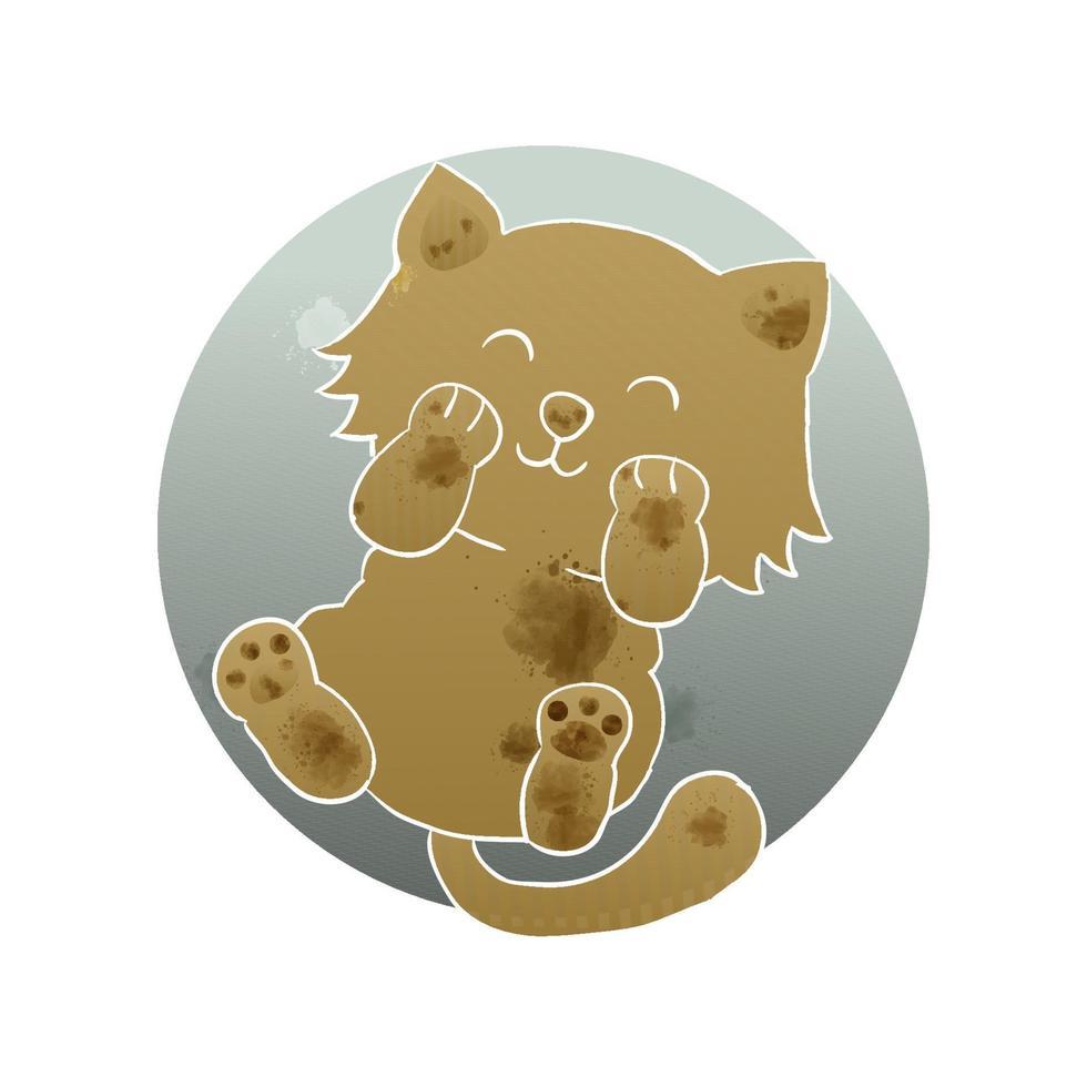 estilo artístico de aquarela adorável gatinho gatinho fofo vetor