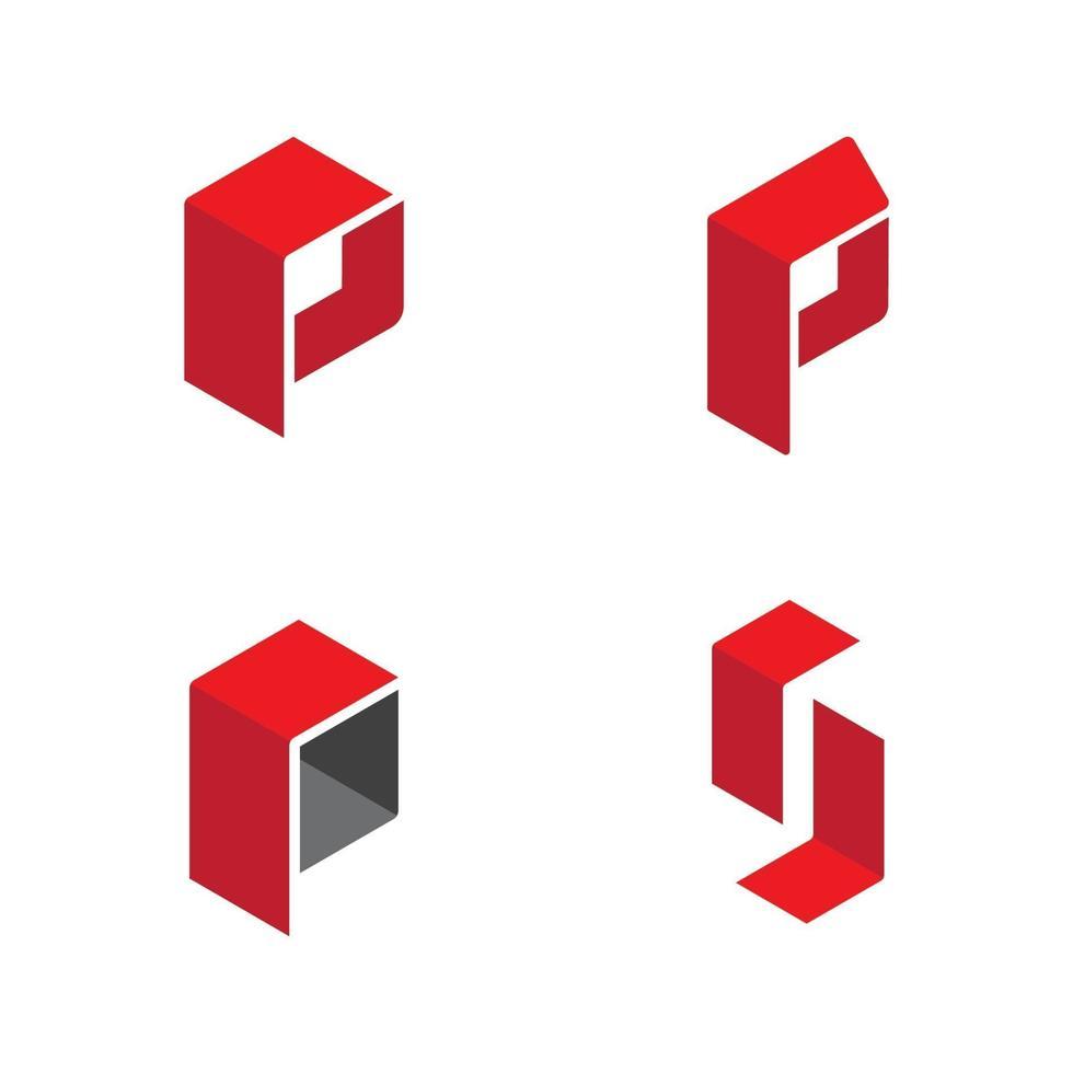 p letra logo tempate vetor