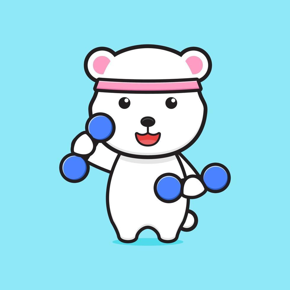 ilustração do ícone do desenho animado do urso polar bonito fitness vetor