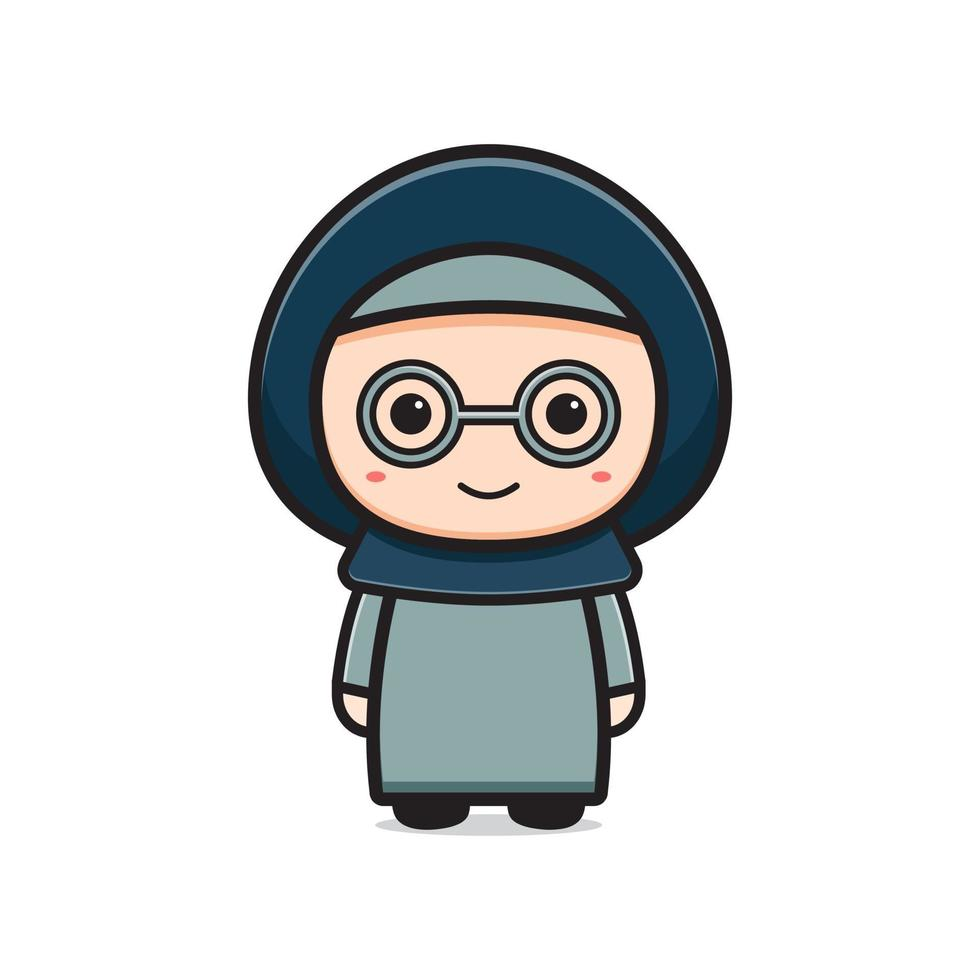 Ilustração do ícone de desenho animado de personagem muçulmano fofo vetor