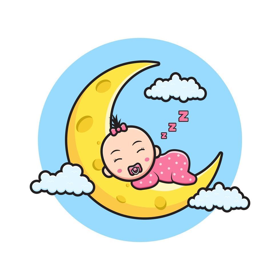 Ilustração do ícone do desenho animado bebê fofo dormindo na lua vetor