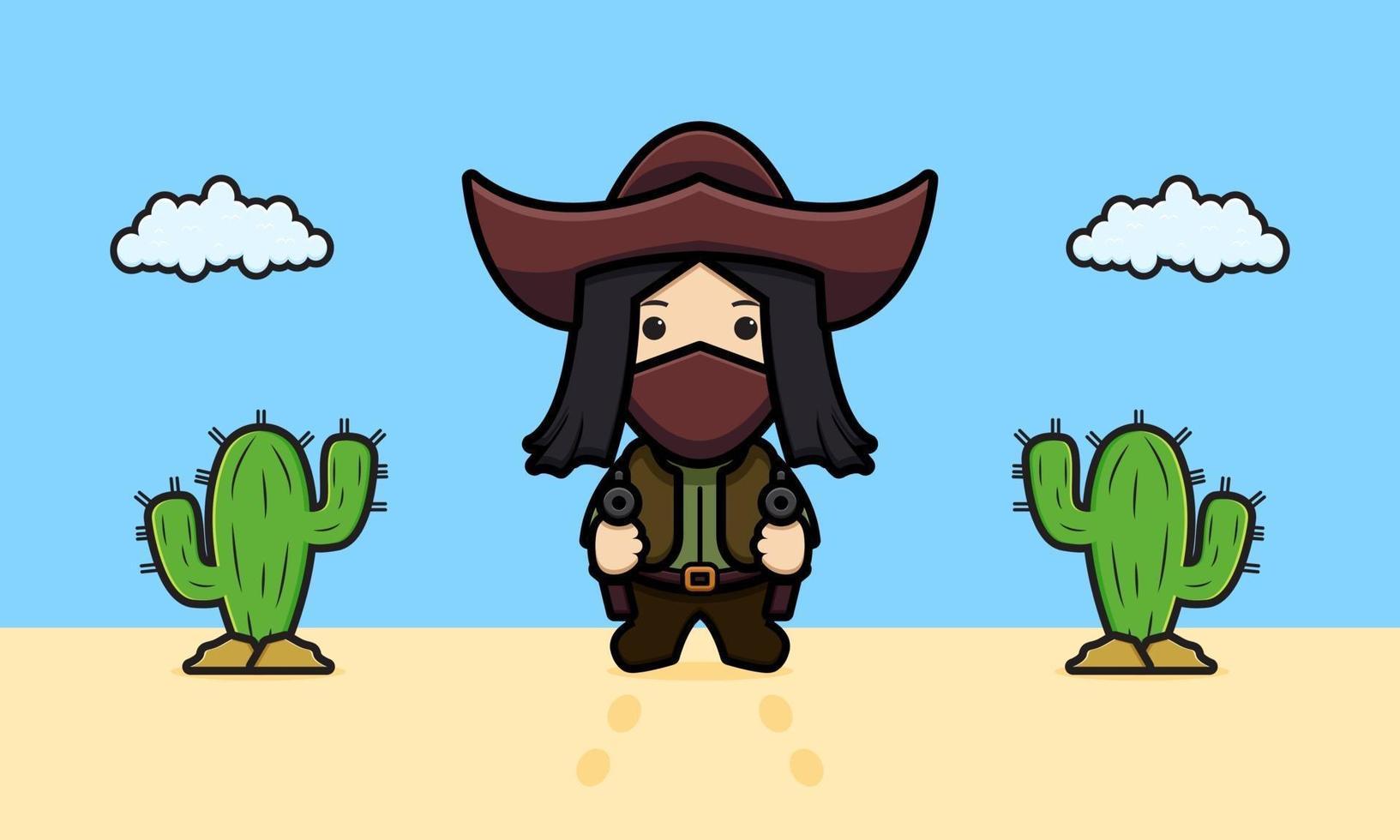 Cowboy fofo no deserto ilustração do ícone dos desenhos animados vetor