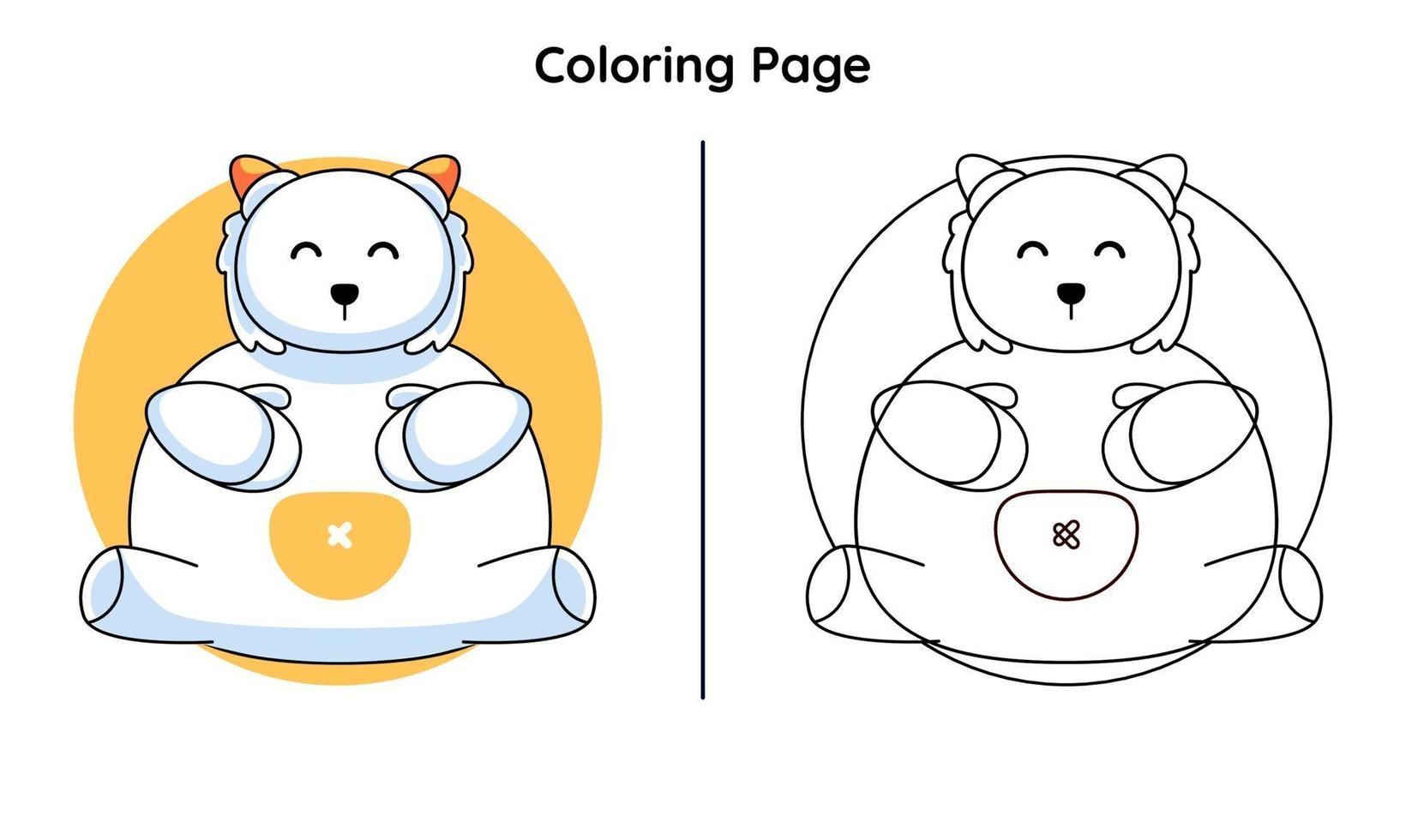 animais fofos com páginas para colorir. adequado para crianças vetor