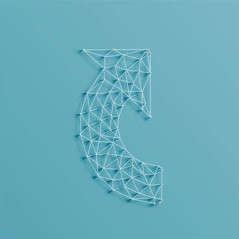 Uma flecha feita por linhas e pinos, 3D realista, ilustração vetorial vetor