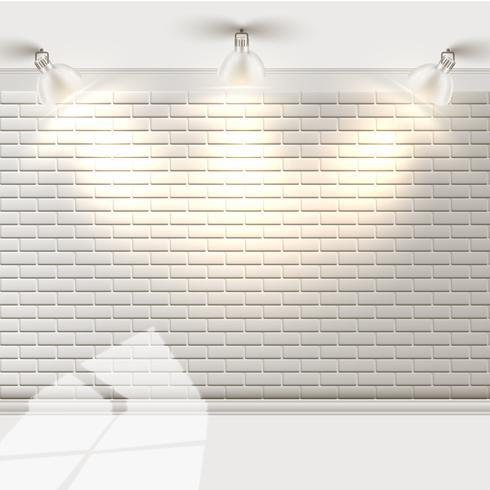 Parede de tijolos brancos com refletores, vetor