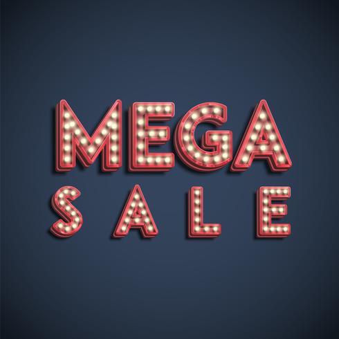 Sinal de fontes de lâmpada 'mega venda', ilustração vetorial vetor