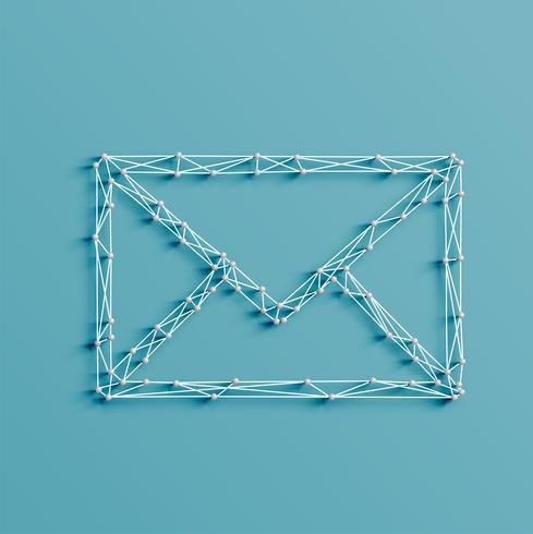 Ilustração realista de um ícone de e-mail feito por pinos e cordas, vetor