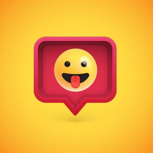 Emoticon 3D engraçado em balão 3D, ilustração vetorial vetor
