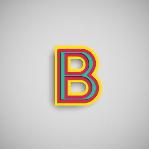 Personagem de papercut colorido de um typeset, vetor