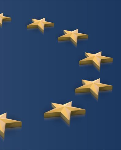 Bandeira da União Europeia, estrelas em 3D, vetor