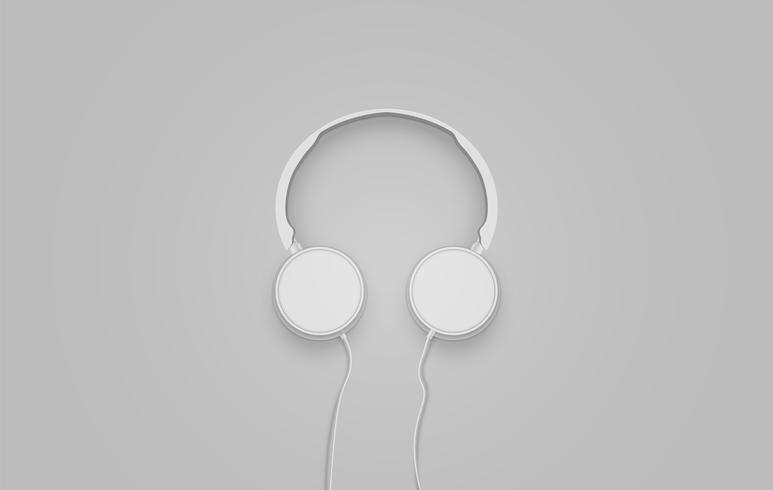Fones de ouvido cinza 3D realistas com fios vetor