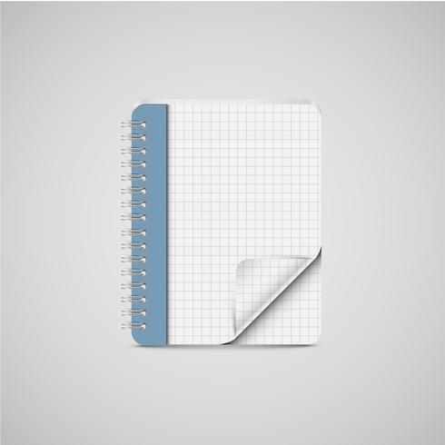 Um, realístico, caderno, ícone, vetorial vetor