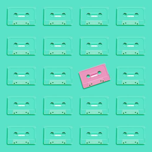 Cassete realista retrô pastel sobre fundo liso, ilustração vetorial vetor