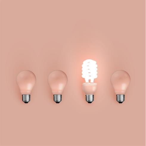 Economizador de energia e lâmpadas originais, ilustração vetorial vetor