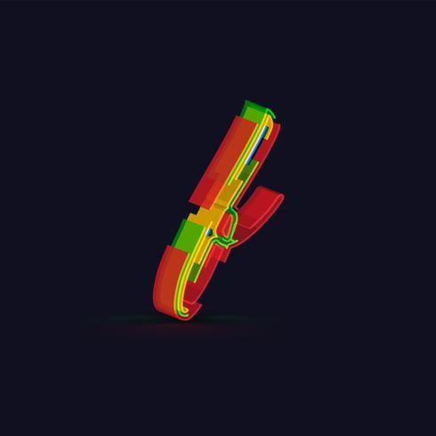 3D personagem colorido de um fontset, vetor