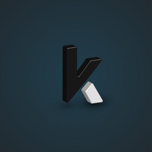 Personagem 3D preto e branca de um conjunto de fontes, ilustração vetorial vetor