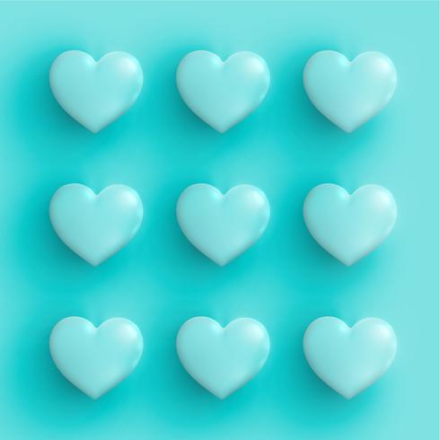 Corações em tons pastel 3D, ilustração vetorial vetor