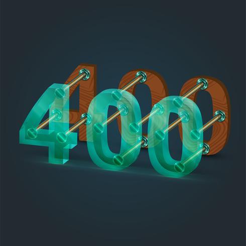 Número feito por vidro e madeira, vetor