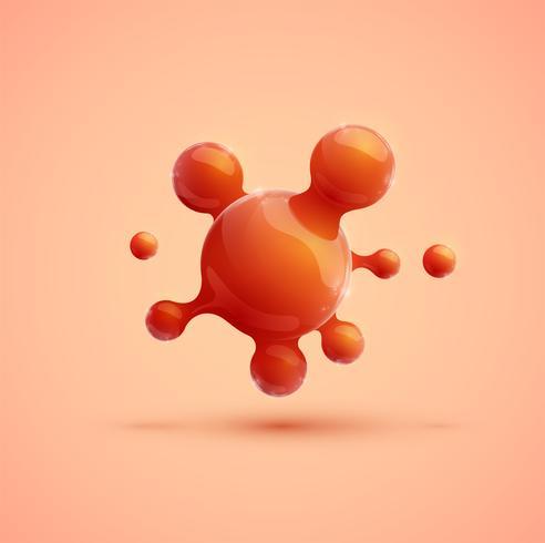 Molécula realista laranja, vetor